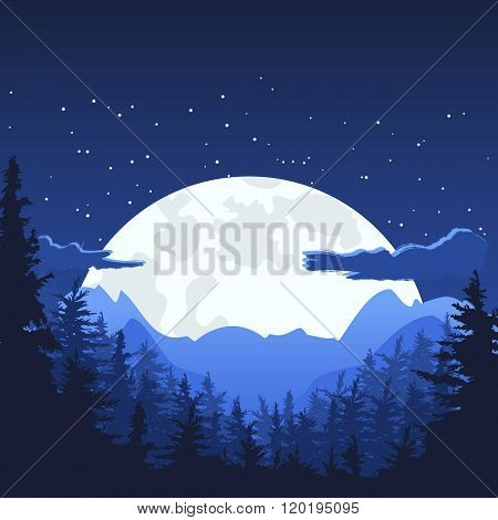 Night Mountain Landscape With Full Moon.