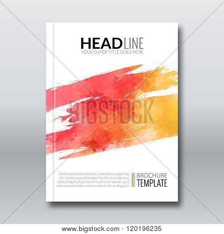 Cover report colorful triangle pink orange geometric prospectus flyer design background, cover flyer