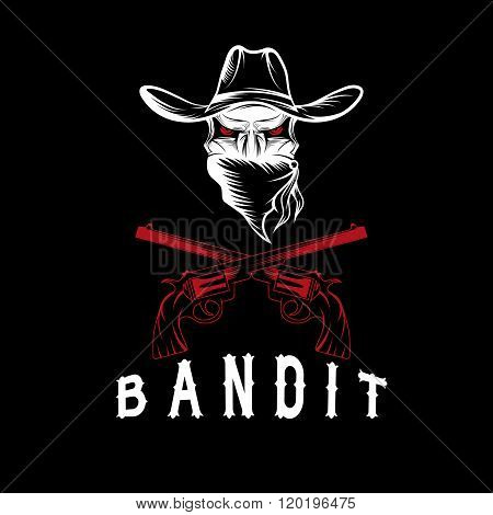 Bandit Skull With Revolvers . Concept Of Graphic Clipart Work
