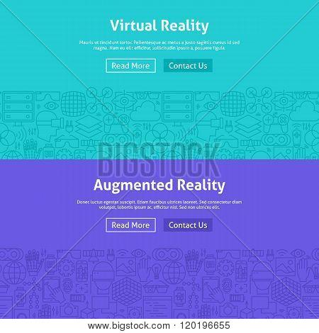 Virtual Reality Line Art Web Banners Set