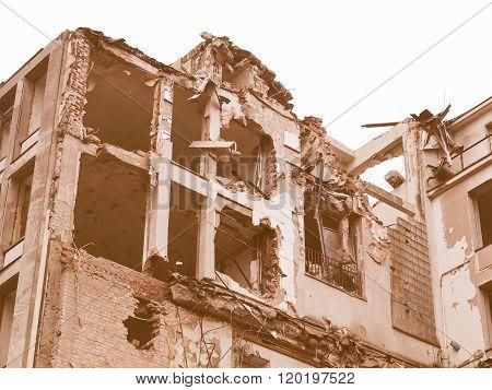 House debris following blast bombing and demolition vintage poster
