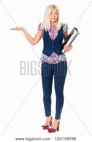 Tired business woman or teacher with folders, isolated white background