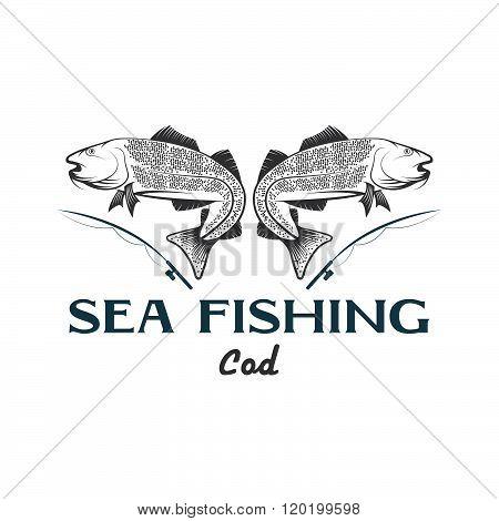Vintage Illustration Sea Fishing With Cod Fish
