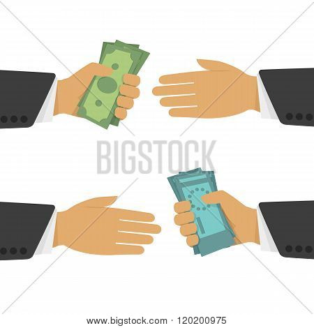Money exchange vector illustration.