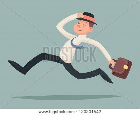Vintage Businessman Running Hurry Race Rush Velocity Winner Character Icon on Stylish Background Ret