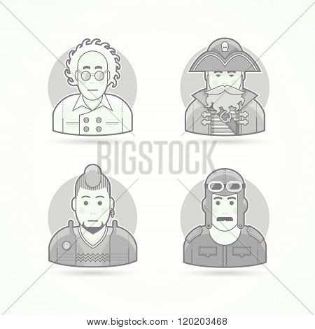 Crazy scientist, sea pirate, punk fan, vintage pilot, Set of character, avatar and person vector ill