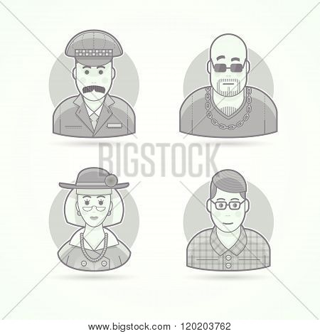 Taxi Driver,  Nightclub Bouncer, Elegant Oldlady, Nerd, Clever Young Man. Set Of Character, Avatar A