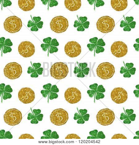 Seamless pattern with round coins of golden glitter and four-leaf clovers of green glitter