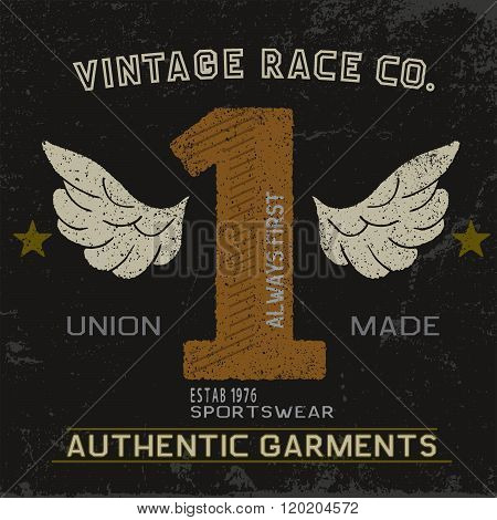 Vintage label with number one