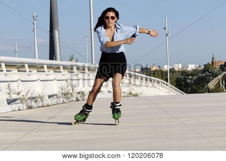 Woman Skater Speeding With A Skirt