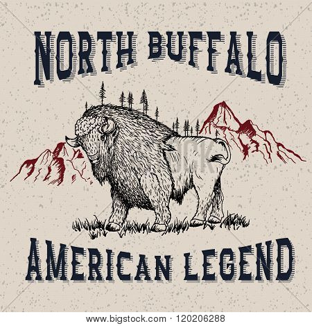 Vintage label with buffalo