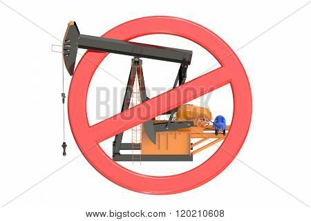 Oil Pumpjack With Forbidden Sign