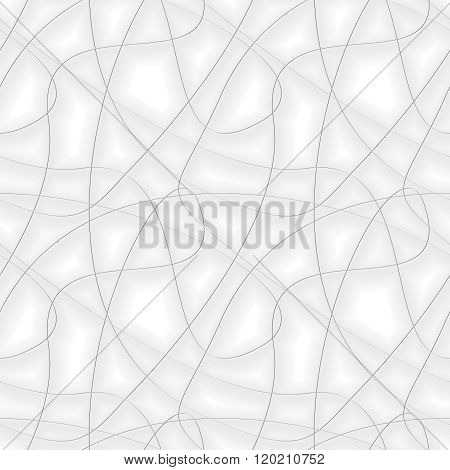 Abstract Background With Chaotic Gray Threads. Seamless Vector Pattern
