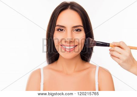 Portrait Of Cute Cheerful Girl Doing Maquillage With Brush Of Powder
