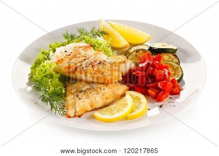 Fish dish - fried cod fillet and vegetables
