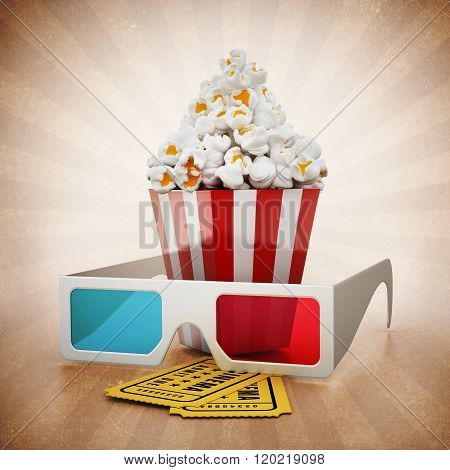 Popcorn, 3D Glasses And Cinema Tickets On Vintage Background