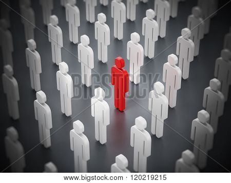 Red Person Shape Standing Out Among White Ones