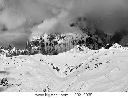 Black And White View On Mount Ushba In Haze