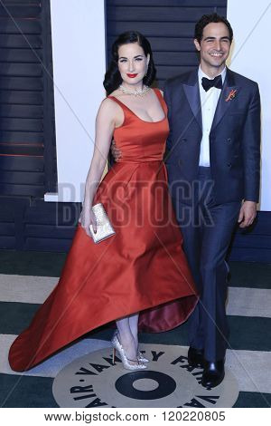 BEVERLY HILLS - FEB 28: Dita Von Teese, Zac Posen at the 2016 Vanity Fair Oscar Party on February 28, 2016 in Beverly Hills, California