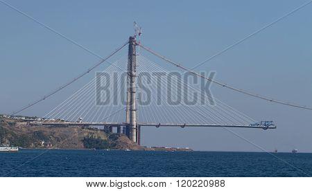 Construction of Yavuz Sultan Selim Bridge over Bosphorus Strait in North of Istanbul Turkey poster