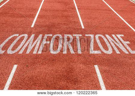Comfort Zone written on running track
