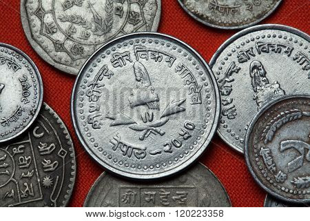 Coins of Nepal. Nepalese royal crown depicted in the Nepalese 25 paisa coin.