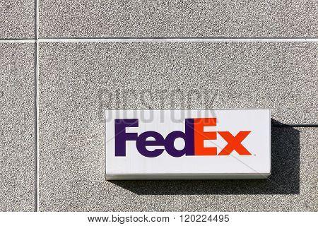 FedEx sign on a wall