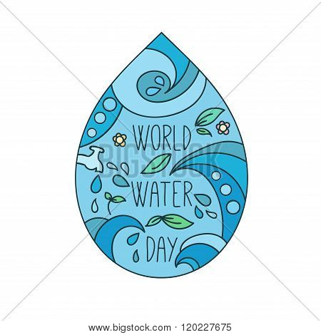 World water day illustration. Vector water drops. Mother earth design.