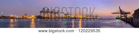 CHONBURI THAILAND-FEBRUARY 13: Panorama view of Laem Chabang Port on February 13 2016 at Laem Chabang Port in ChonburiThailand.  That  is the main deep sea port of Thailand