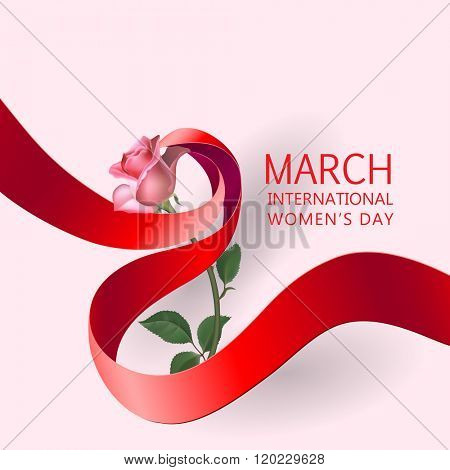 Happy Women's Day Paper Design.  Ribbon March 8 greeting card with red rose. Vector logo illustration.