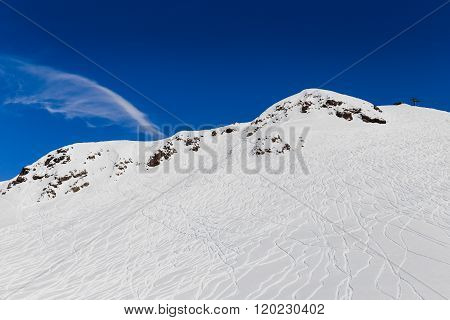Ski tracers on mountain