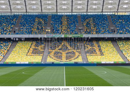Ukraine Emblem On Seats On Stadium