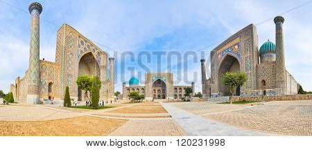 Panorama Registan Square With Three Madrasahs In Samarkand