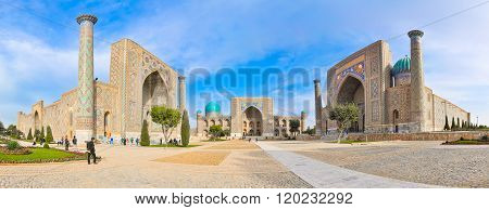 Panorama Famous Registan Square In The Ancient City Samarkand