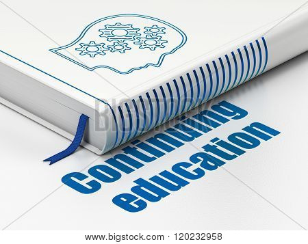 Education concept: book Head With Gears, Continuing Education on white background