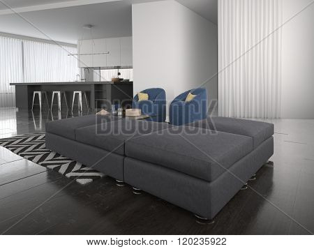 Modern ottoman style lounge suite in a large airy open plan living room interior in sombre grey and white with a bold zigzag carpet. 3d Rendering.