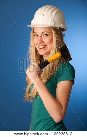 Woman With Constructor Helmet And Hammer Happy To Do Tough Work.