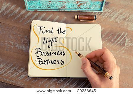 Handwritten Text Find The Right Business Partners