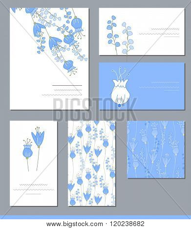Floral templates with cute bunches of bluebells. For romantic design, announcements, greeting cards, posters, advertisement.