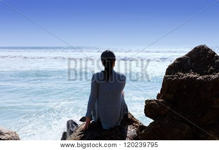 Woman Enjoying The View Of The Pacific Ocean In Southern California