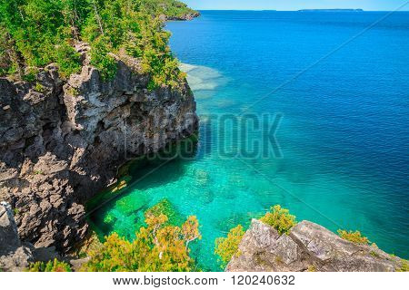 natural landscape view on great Cyprus lake and cliffs