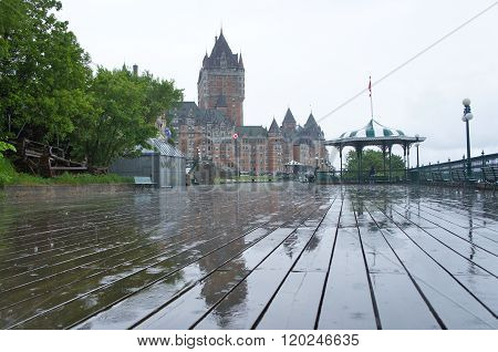 Chateau Frontenac on a rainy day