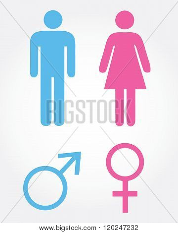 A vector set of male and female symbols and icons