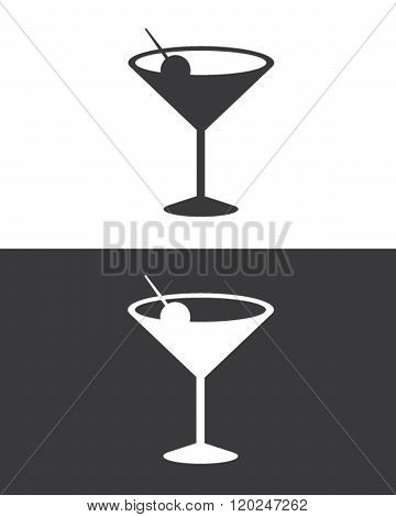 Vector Cocktail Glass Silhouette Set in Black and Reverse