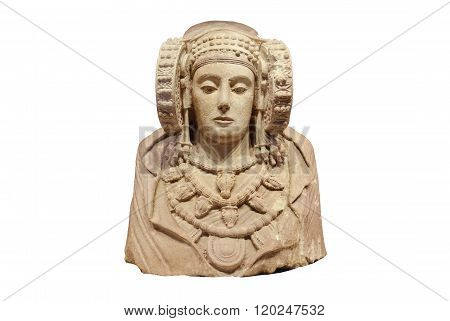 Lady of Elche on white isolated background is the most important piece of Iberian art. Produced in the fourth century B.C. Was discovered in 1897 at L'Alcúdia an archaeological site