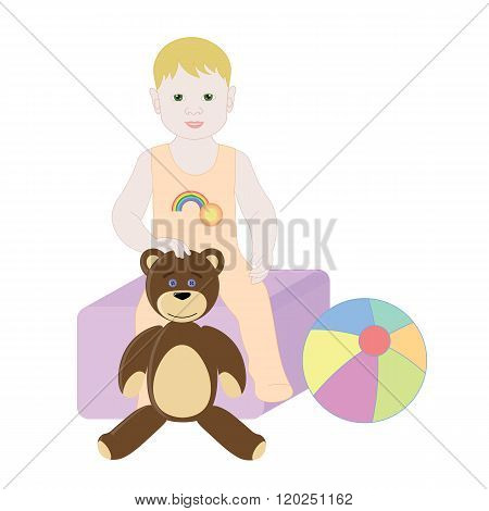 Baby boy sitting on the toy box. The boy in Romper with Teddy bear and ball.