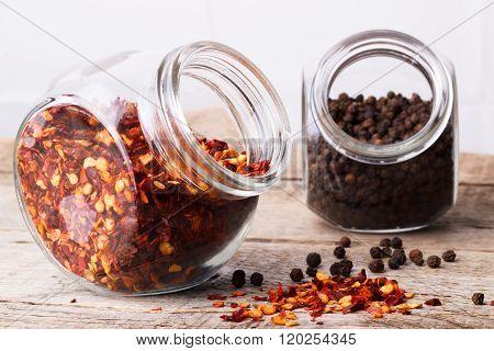 Chili Flakes And Black Peper