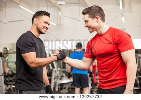 Male Friends Meeting At The Gym