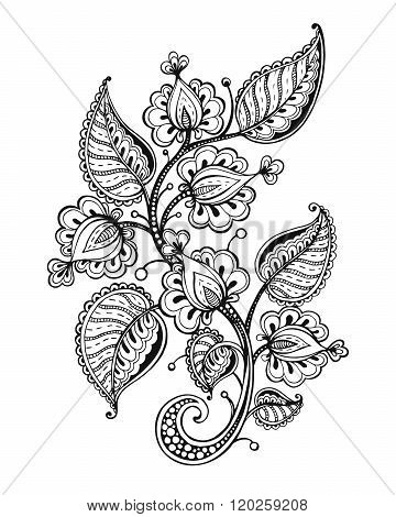 Vector Illustration Of Hand Drawn Fancy Flower Branch And Leaves