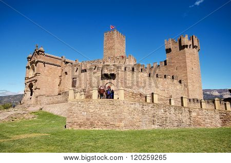 NAVARRA SPAIN - APRIL 2: Tourist visiting famous Javier Castle on April 2 2016 in Navarra Spain.